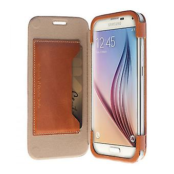 Krusell leather of BookCover bag Kiruna for Galaxy S6 S6 edge camel