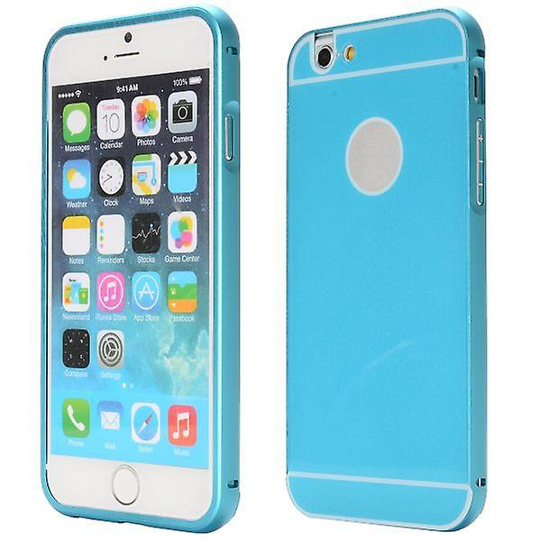 Alu Bumper 2 teilig Blau + 0,3 mm H9 Panzerglas für Apple iPhone 6 Plus