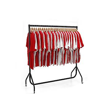 5ft Black Heavy Duty Clothes Rail with 50 Wood Hangers