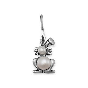 Sterling Silver Freshwater Cultured Pearl Bunny Pendant Height 23mm - 5mm 6mm Freshwater Cultured Pe
