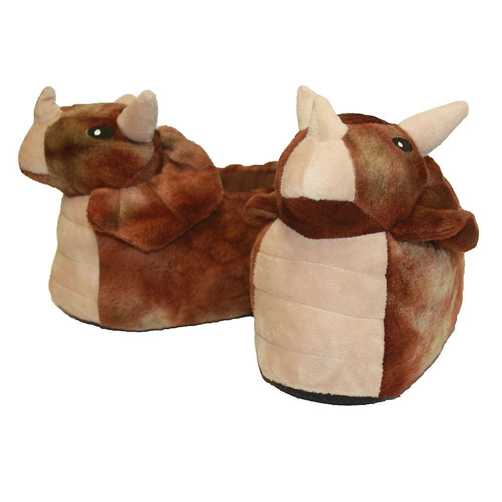 SlumberzzZ Kids Boys Novelty 3D Dinosaur Design Warm Fleece Slip-On Slippers