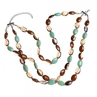 Camille Brown And Aqua Blue Three Strap Small Bead Necklace