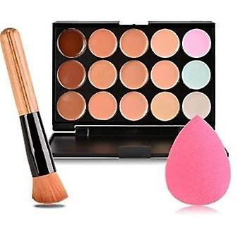 Boolavard nya 15 färger kontur Face Cream Makeup Concealer Palette + Powder Brush + rosa svamp Puff