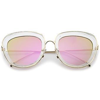 Kobiet przezroczysty rama plac lustro kolorowe soczewki Oversize okulary 53mm