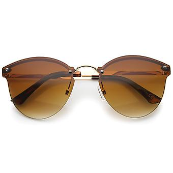 Womens Fashion Lightweight Rimless Metal Temple Cat Eye Sunglasses