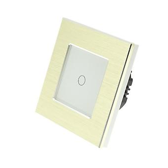 I LumoS Gold Brushed Aluminium 1 Gang 1 Way Touch Dimmer LED Light Switch White Insert