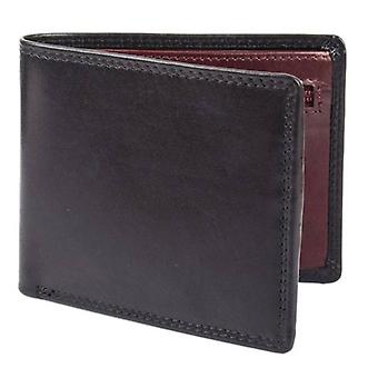Dents Smooth Leather Zip Coin Bifold Wallet - Black/Claret Red