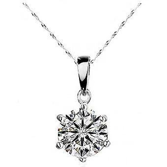 SILVER 6 ANGLE CRYSTAL NECKLACE