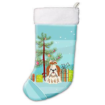 Merry Christmas Tree Shih Tzu Red White Christmas Stocking