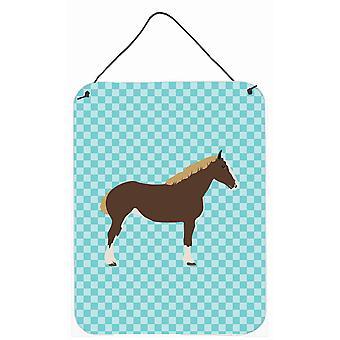 Percheron caballo Check azul pared o puerta colgantes grabados