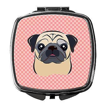 Carolines Schätze BB1262SCM Schachbrett rosa beige Mops Taschenspiegel