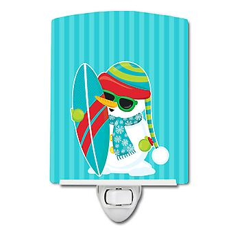 Carolines Treasures  BB9076CNL Beach Snowman Surfer Ceramic Night Light