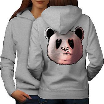 Panda Lick Hearth Animal Women GreyHoodie Back | Wellcoda