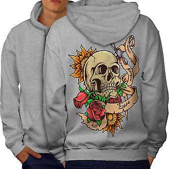 Stabbed Head Death Men GreyHoodie Back | Wellcoda