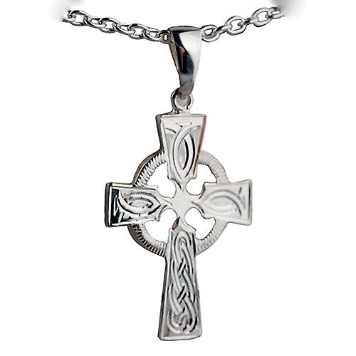 Silver 35x24mm hand engraved knot pattern Celtic Cross with bail on a cable Chain 18 inches