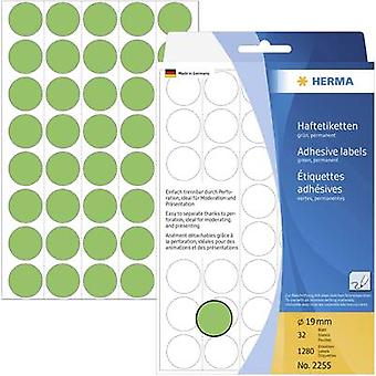 Herma 2255 Labels (hand writable) Ø 19 mm Paper Green 1280 pc(s) Permanent adhesive Sticky dots