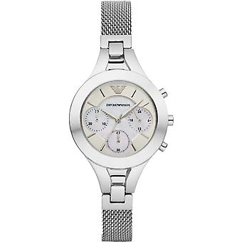 Emporio Armani Womens Ladies Chronograph Wrist Watch roestvrij staal AR7389