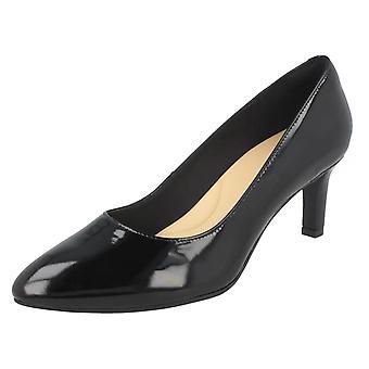 Damen Clarks texturiert Gericht Schuhe Calla Rose - Schwarz Lack - UK Größe 7,5 D - EU Größe 41,5 - US Size 10M