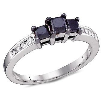 Three Stone Princess Cut Enhanced Black Diamond Engagement Ring 3/4 Carat (ctw) in 10K White Gold