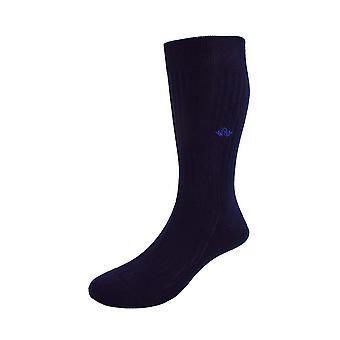 Cotton lisle tailored socks - navy