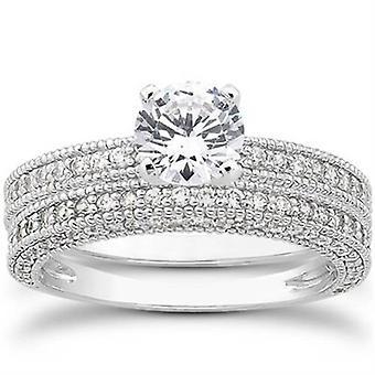 7 / 8ct Erbstück Milgrained Diamond Engagement Trauring Set 14K White Gold