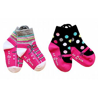 Girls Mary Jane & Sneakers EZ SOX Socks - 2 Pairs, 2 - 3 Years