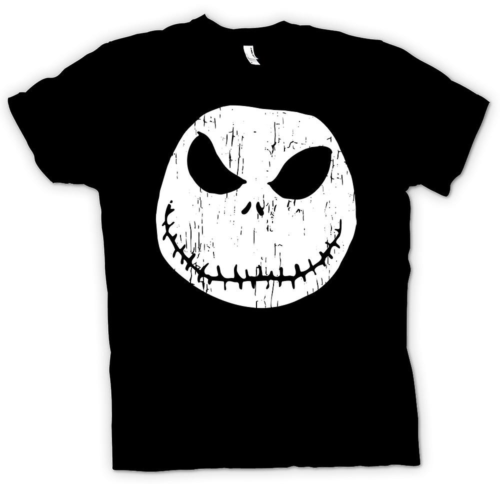 Womens T-shirt - Scary Halloween Pumpkin - Smiley Face