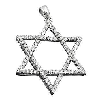 Rhodium-plated sterling silver pendant pendants star of David cubic zirconia 925 Silver