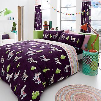 Lama Tier 4 Pcs Quilt Bettbezug mit montierten Plansatz Bettwäsche