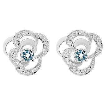 Orphelia Silver 925 Earring Flower Blue Topaz  ZO-7099