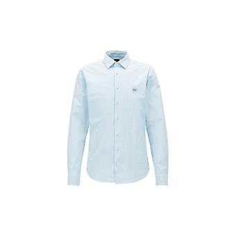 Hugo Boss Casual Men's Slim Fit Mypop_1 Light Blue Long Sleeved Shirt