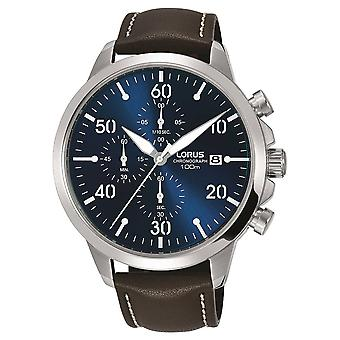 Lorus Mens Chronograph Brown Leather Strap Blue Dial RM353EX9 Watch