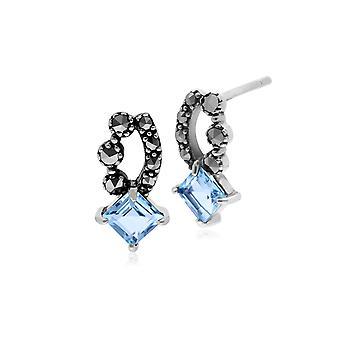 Gemondo Sterling Silver Blue Topaz & Marcasite Stud Earrings