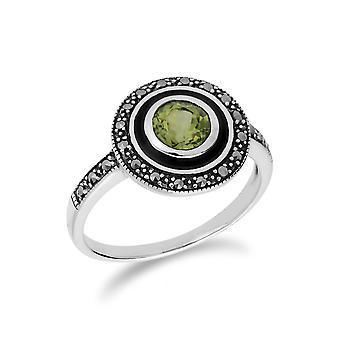 Gemondo Sterling Silver Peridot & Marcasite & Black Enamel Ring
