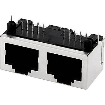 Multi-port 2xRJ45 Socket, horizontal mount MPU288A Metal