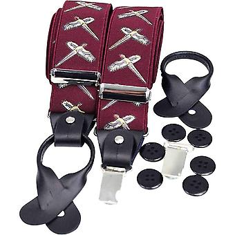 David Van Hagen Country Luxury Flying Phesant Braces - Wine Red