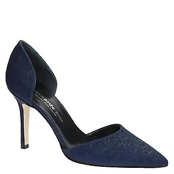 High heels stiletto pumps in pleated blue satin