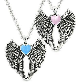 Engelsflügel Magie Herzen Liebespaare oder beste Freunde Aqua blau rosa simulierten Katzen Auge Halsketten