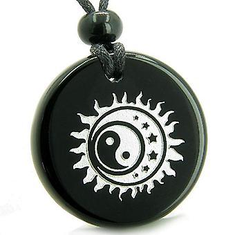 Amulet Sun Moon stjerner Triple Magic Balance Yin Yang Positive beføjelser Onyx medaljon halskæde