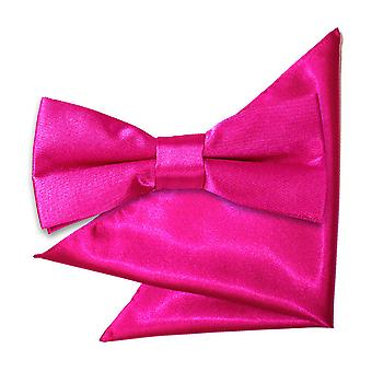 Hot Pink Plain Satin Bow Tie & Pocket Square Set for Boys