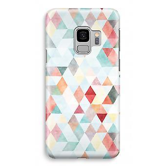 Samsung Galaxy S9 Full Print Fall (glänzend) - farbige Dreiecke Pastell
