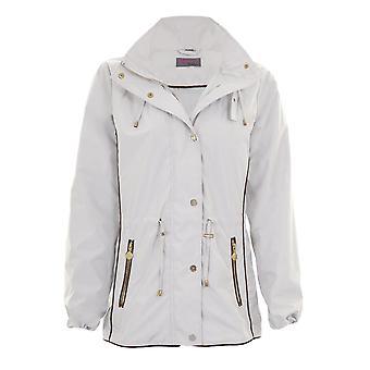 Ladies Hooded Long Sleeve Smart Waterproof Lightweight Rain Coat Jacket