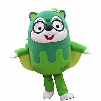 SPOTSOUND of green flying squirrel mascot, with glasses