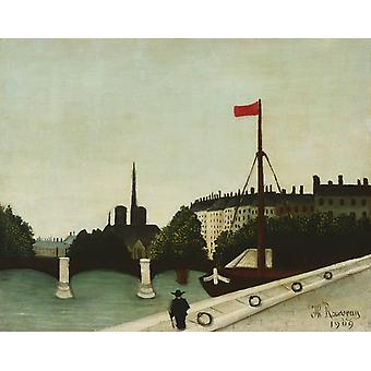 Notre-Dame Cathedral Seen from Port Henri-IV, Henri Rousseau, 50x40cm