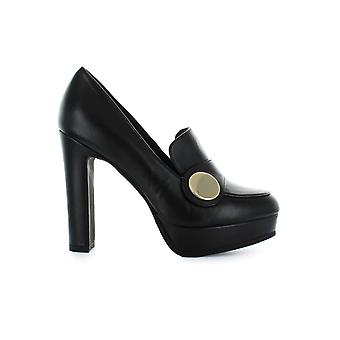 NICOLE BONNET BLACK LEATHER HEELED LOAFERS
