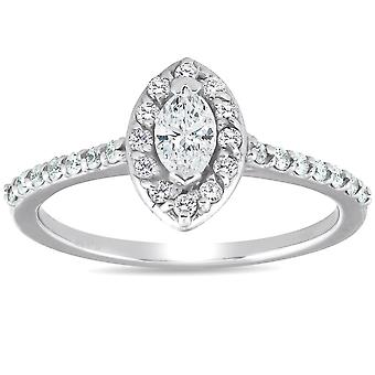 1/2ct Fancy Marquise Diamond Engagement 14K White Gold Ring