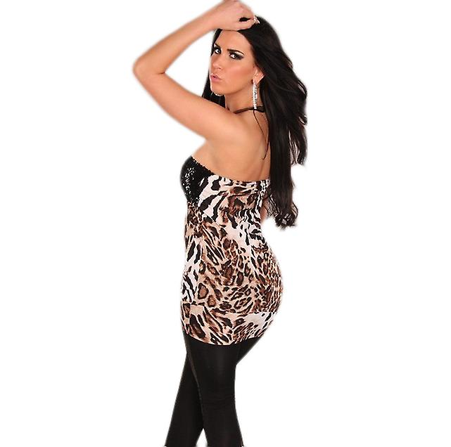 Waooh - Fashion - Short strapless dress with sequins and leopard print