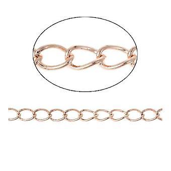 10m x Rose goud Anti Condens messing 3 x 5mm Open Curb Chain CH2515