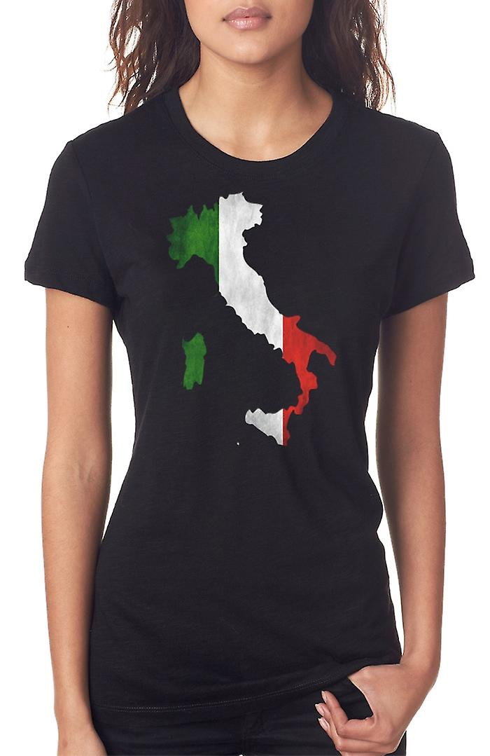 Italian Italy Flag Map Ladies T Shirt