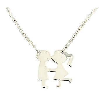 TOC Sterling Silver Girl & Boy Pendant Necklace 16